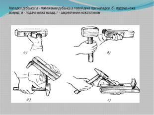Наладка рубанка: а - положение рубанка в левой руке при наладке, б - подача н
