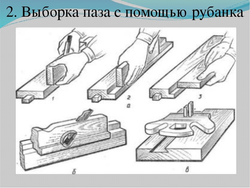 2. Выборка паза с помощью рубанка.