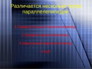 Различается несколько типов параллелепипедов: 1.Прямоугольный параллелепипед.