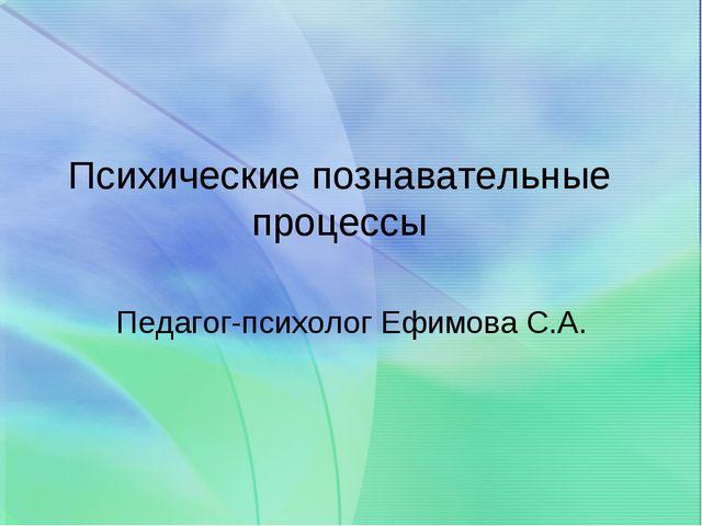Психические познавательные процессы Педагог-психолог Ефимова С.А.