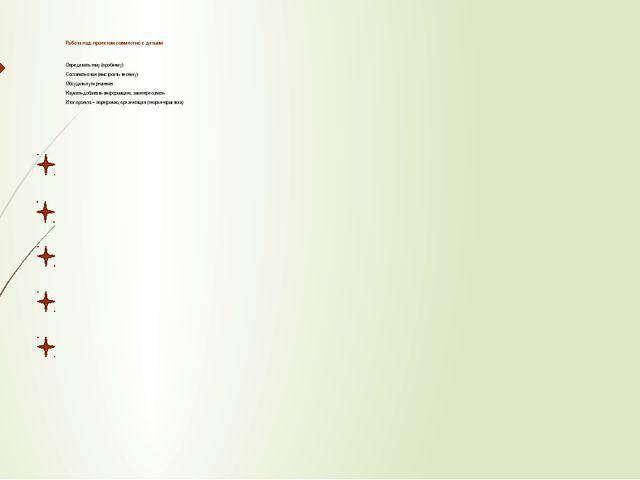 Работа над проектом совместно с детьми Определить тему (проблему) Составить п...