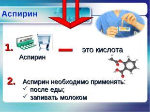 Аспирин Аспирин Аспирин необходимо применять: после еды; запивать молоком 1.