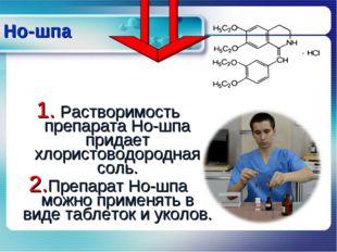 Растворимость препарата Но-шпа придает хлористоводородная соль. Препарат Но-