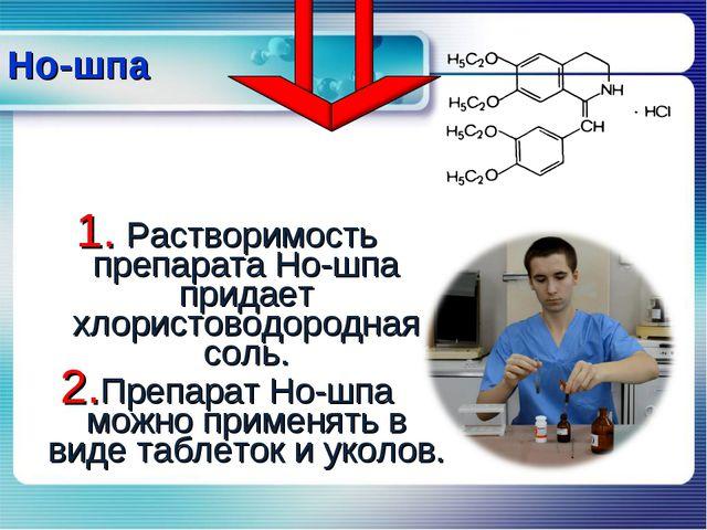Растворимость препарата Но-шпа придает хлористоводородная соль. Препарат Но-...