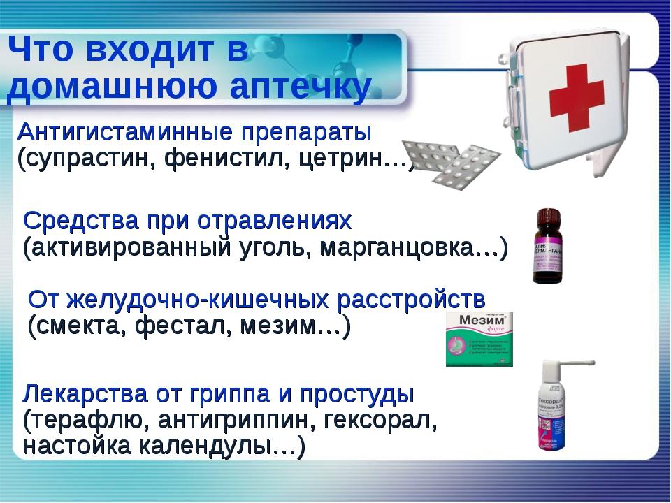 Что входит в домашнюю аптечку От желудочно-кишечных расстройств (смекта, фест...
