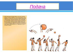 Подача Игра начинается вводом мяча в игру при помощи подачи согласно жребию.