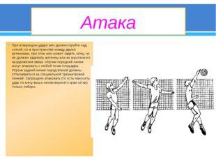 Атака При атакующем ударе мяч должен пройти над сеткой, но в пространстве меж