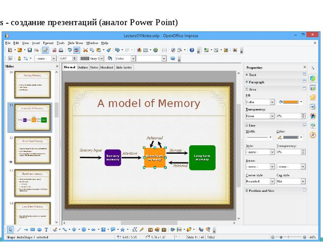 3. Impress - создание презентаций (аналог Power Point)