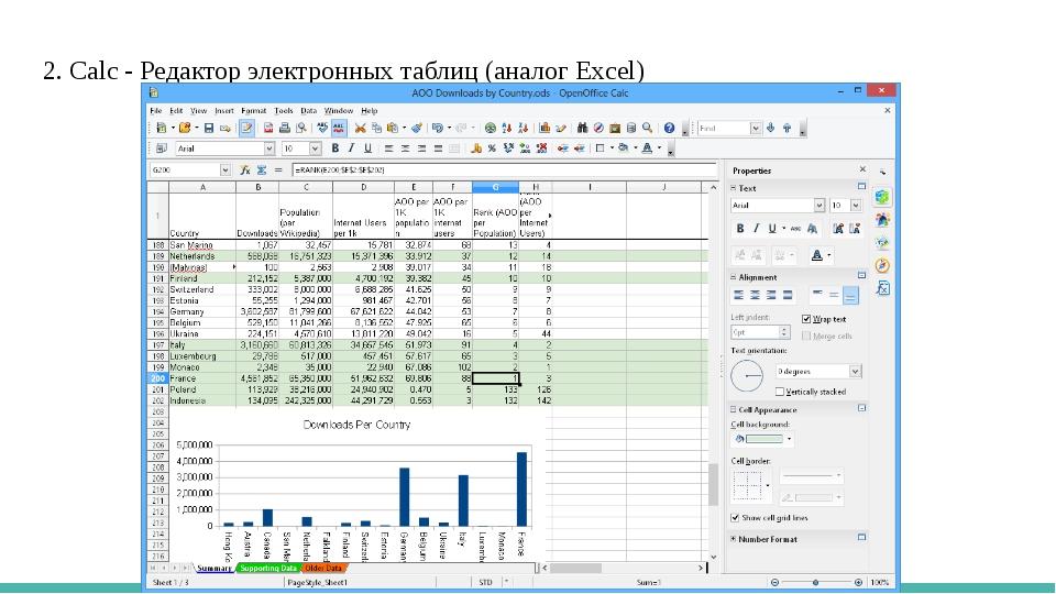 2. Calc - Редактор электронных таблиц (аналог Excel)
