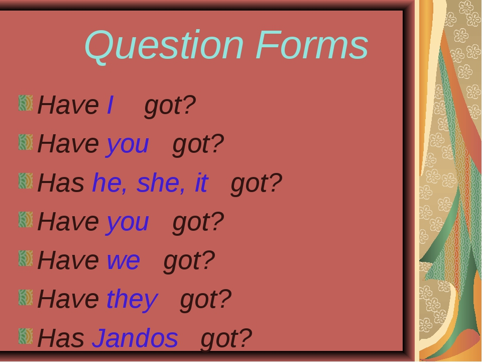 Question Forms Have I got? Have you got? Has he, she, it got? Have you got?...