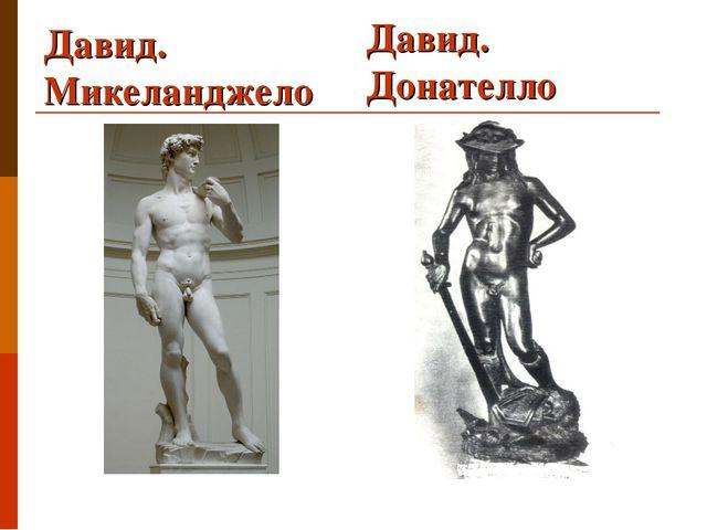 Давид. Донателло Давид. Микеланджело