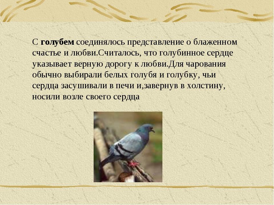С голубем соединялось представление о блаженном счастье и любви.Считалось, чт...