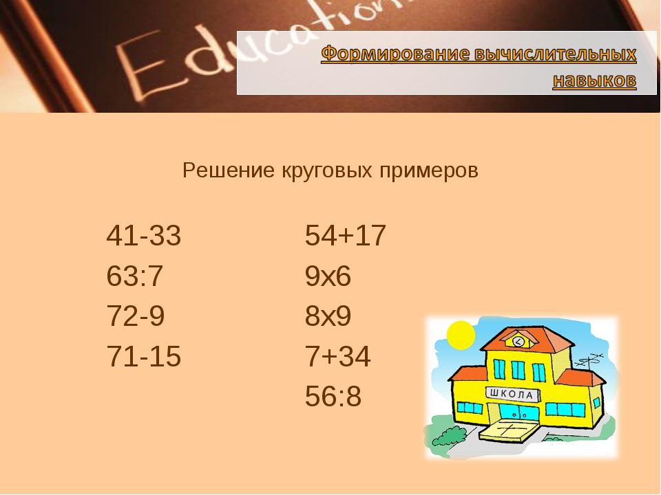 Решение круговых примеров  41-3354+17 63:79х6 72-98х9...
