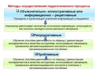 Методы осуществления педагогического процесса Объяснительно- иллюстративные и