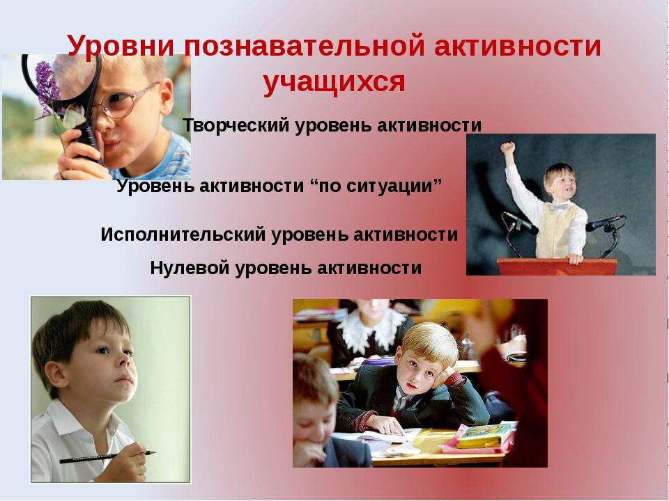 Уровни познавательной активности учащихся Нулевой уровень активности Уровень...