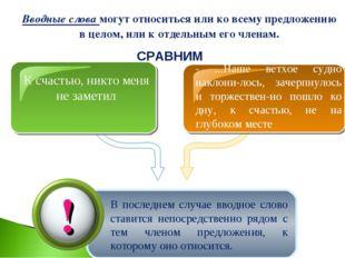 Вводные слова могут относиться или ко всему предложению в целом, или к отдель