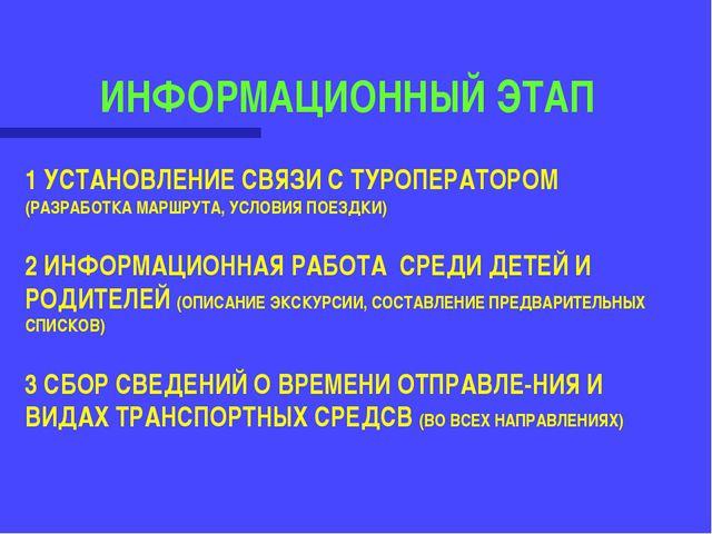 ИНФОРМАЦИОННЫЙ ЭТАП 1 УСТАНОВЛЕНИЕ СВЯЗИ С ТУРОПЕРАТОРОМ (РАЗРАБОТКА МАРШРУТА...
