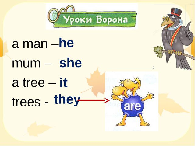 a man – mum – a tree – trees - he she it they