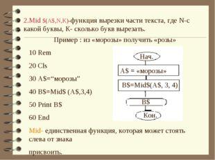 2.Mid $(A$,N,K)-функция вырезки части текста, где N-с какой буквы, К- сколько