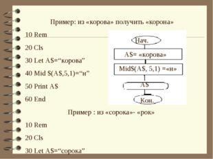 """Пример: из «корова» получить «корона» 10 Rem 20 Cls 30 Let A$=""""корова"""" 40 Mid"""
