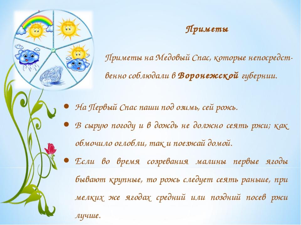 Приметы Приметы на Медовый Спас, которые непосредст-венно соблюдали в Воронеж...