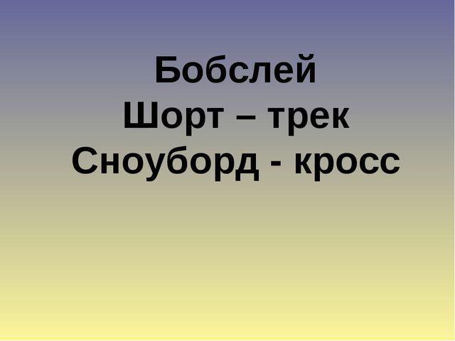 Бобслей Шорт – трек Сноуборд - кросс