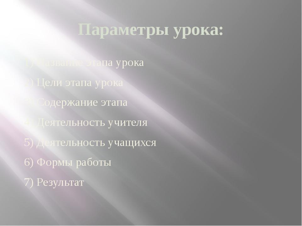 Параметры урока: 1) Название этапа урока 2) Цели этапа урока 3) Содержание эт...