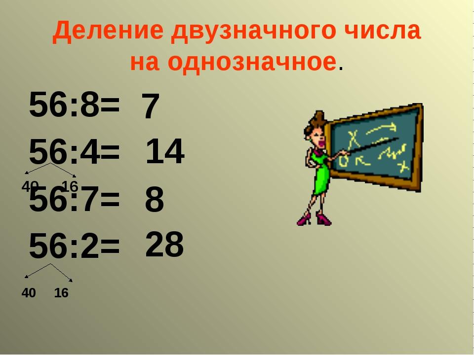 Деление двузначного числа на однозначное. 56:8= 56:4= 56:7= 56:2= 7 14 8 28 4...