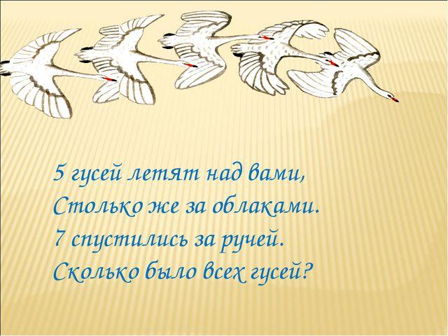 5 гусей летят над вами, Столько же за облаками. 7 спустились за ручей. Скольк...