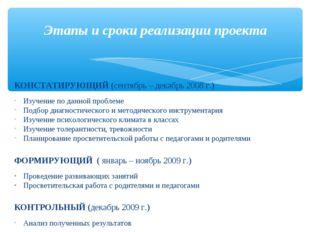 КОНСТАТИРУЮЩИЙ (сентябрь – декабрь 2008 г.) Изучение по данной проблеме Подб