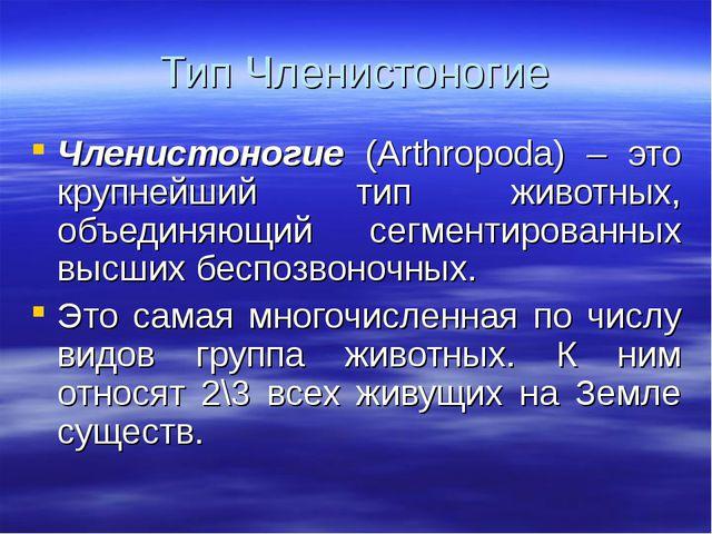 Тип Членистоногие Членистоногие (Arthropoda) – это крупнейший тип животных, о...