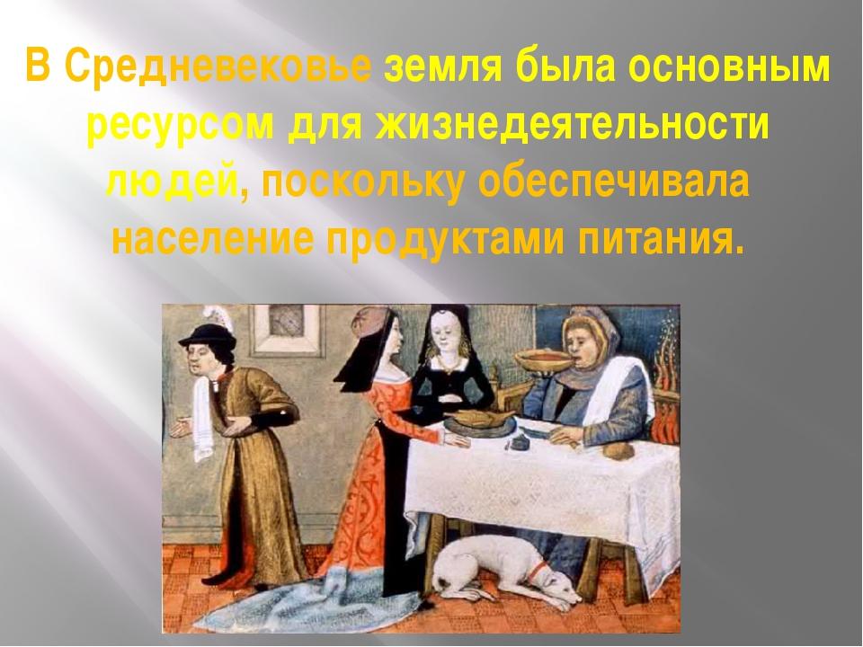 В Средневековье земля была основным ресурсом для жизнедеятельности людей, пос...
