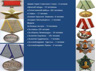 Звание Героя Советского Союза – 6 человек «Красной звезды – 53 человека» «Оте