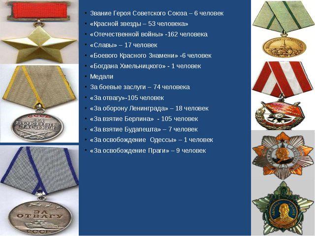 Звание Героя Советского Союза – 6 человек «Красной звезды – 53 человека» «Оте...