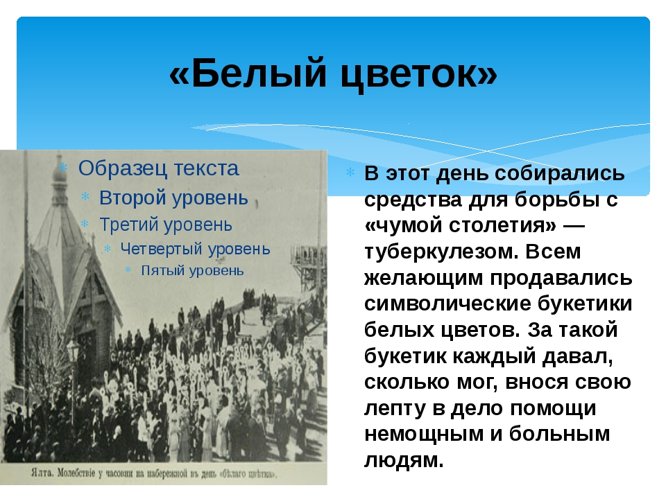 «Белый цветок» Вэтот день собирались средства дляборьбы с «чумой столетия»...