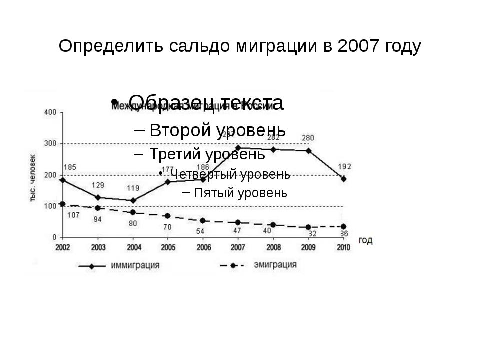 Определить сальдо миграции в 2007 году
