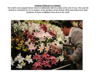 Festival of flowers in Chelsea . The world's most popular flower show is trad