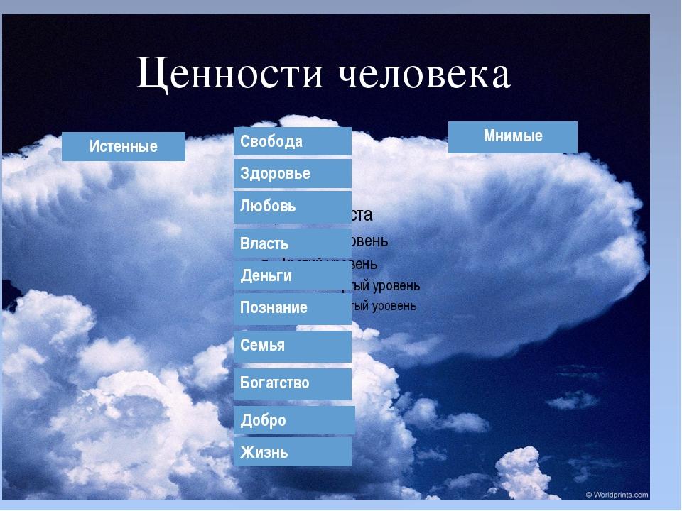 Ценности человека Мнимые Истенные Любовь Деньги Свобода Власть Познание Здор...
