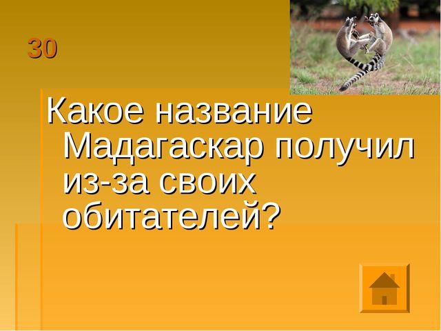 30 Какое название Мадагаскар получил из-за своих обитателей?
