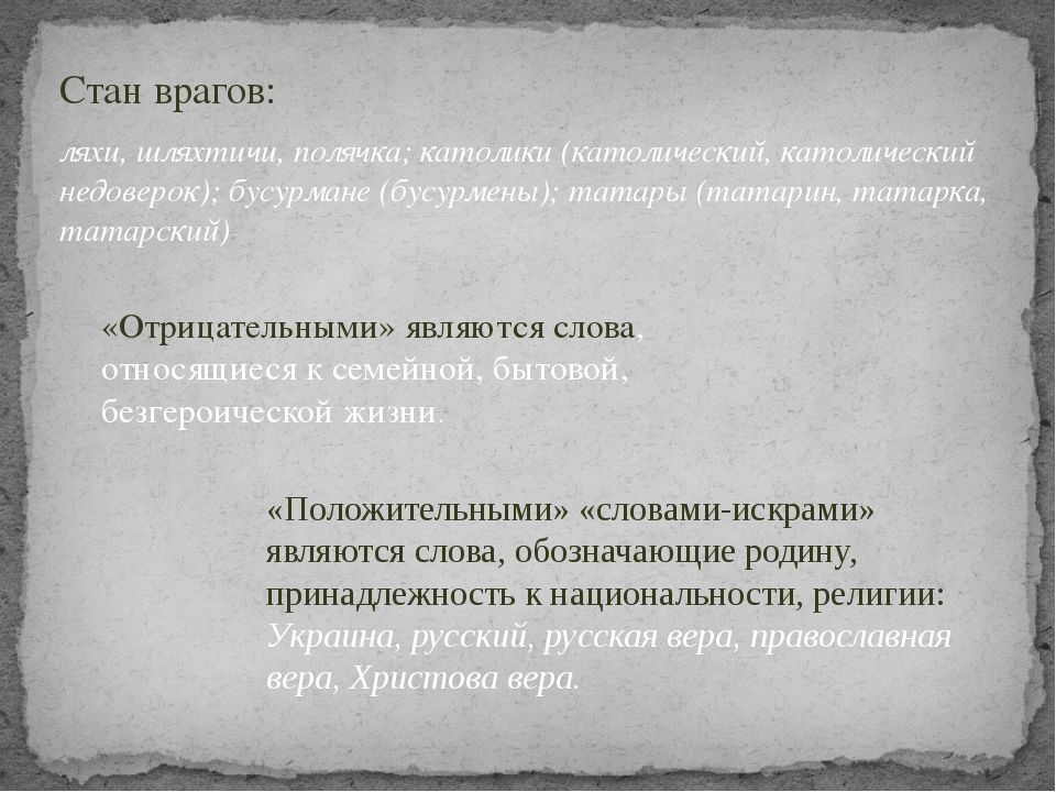 Стан врагов: ляхи, шляхтичи, полячка; католики (католический, католический не...