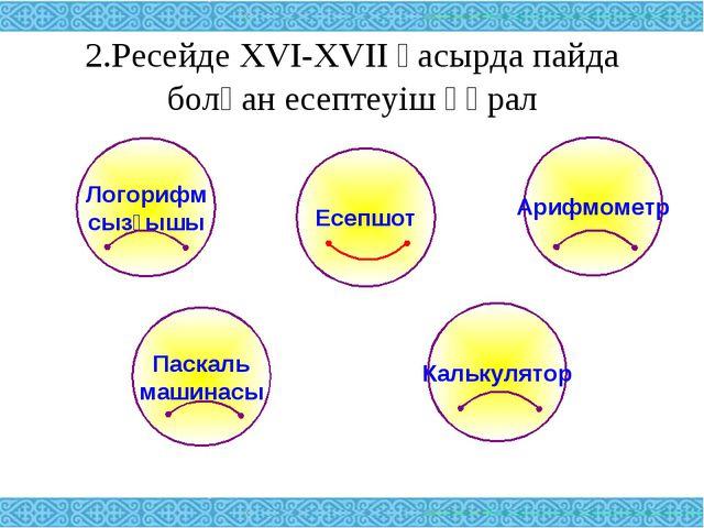 2.Ресейде XVI-XVII ғасырда пайда болған есептеуіш құрал Логорифм сызғышы Ариф...