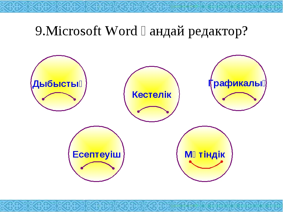 9.Microsoft Word қандай редактор? Дыбыстық Графикалық Кестелік Есептеуіш Мәті...