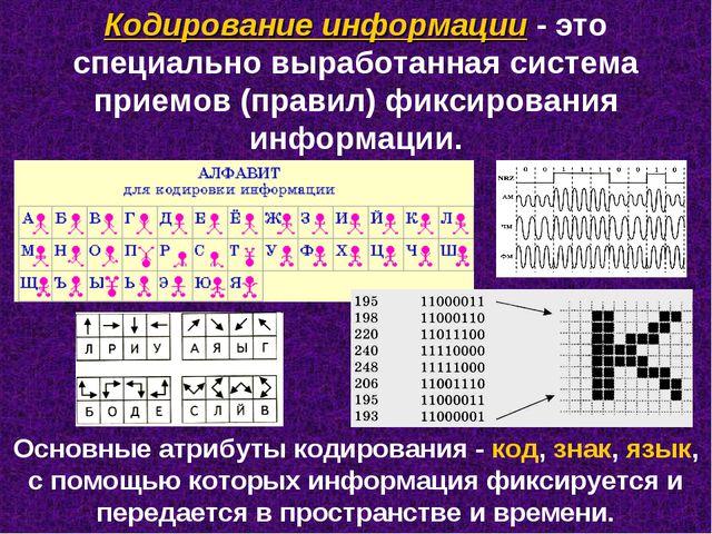 Кодирование информации - это специально выработанная система приемов (правил)...