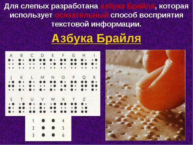 Для слепых разработана азбука Брайля, которая использует осязательный способ...
