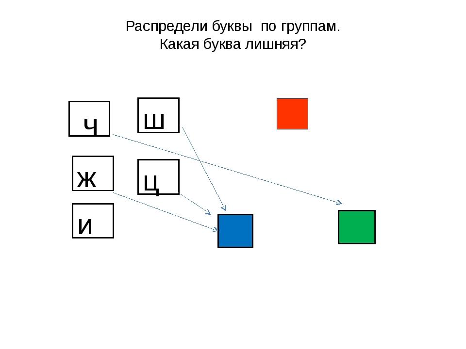 Распредели буквы по группам. Какая буква лишняя? ч ш ж ц и
