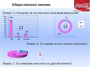Вопрос 3. Считаешь ли ты кока-колу полезным продуктом? Вопрос 4. Ты знаешь и