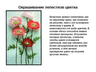 Окрашивание лепестков цветка Лепестки можно оттенять как по верхнему краю, ка
