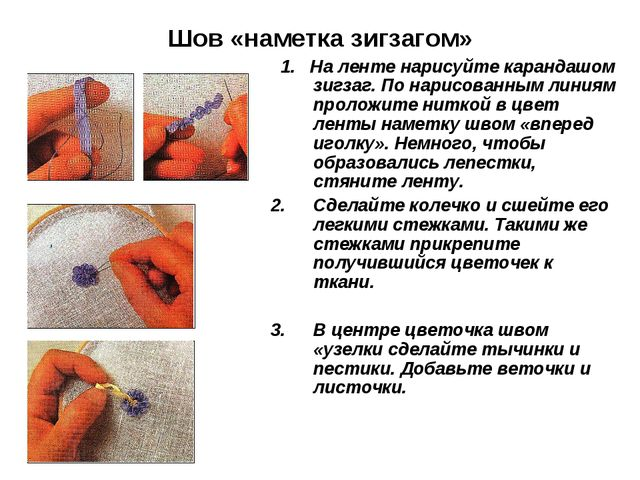 Шов «наметка зигзагом» 1. На ленте нарисуйте карандашом зигзаг. По нарисованн...