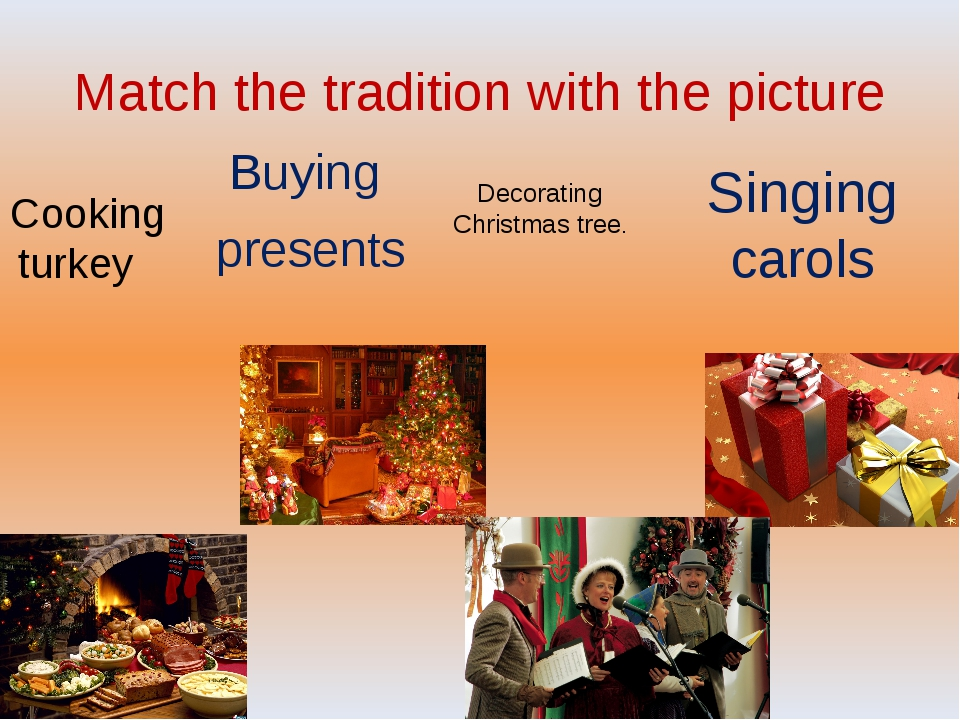 Match the tradition with the picture Buying presents Cooking turkey Decoratin...