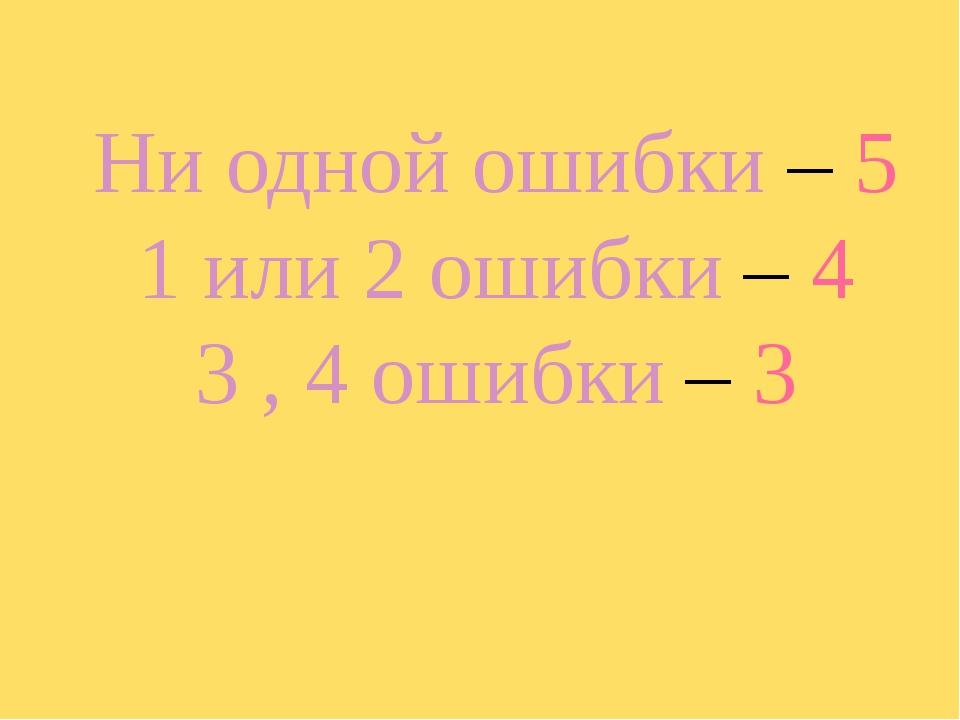Ни одной ошибки – 5 1 или 2 ошибки – 4 3 , 4 ошибки – 3
